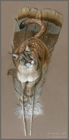 A mountain lion peers curiously up, gentle snowflakes clinging to her thick winter coat. This painting is on feathers provided by a client, and I wish I. Mountain Lion in the Snow Wolf Painting, Feather Painting, Feather Art, Native Art, Native American Art, Animal Drawings, Art Drawings, Image Nature, Deer Art