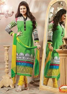 Parrot Green Colored Cotton Unstitched Salwar-1404  Parrot Green Colored Cotton Emb work and High Neck F/s Semi Stitched Top and Yellow Colored Cotton Pant with Double Colored Chiffon Dupatta.