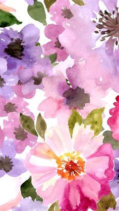 Floral Wallpaper Iphone, Trendy Wallpaper, New Wallpaper, Flower Wallpaper, Cute Wallpapers, Spring Wallpaper, Iphone Wallpapers, Watercolor Pattern, Watercolor Flowers