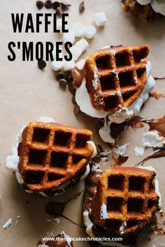 A new twist on an old classic! Graham cracker flavored waffles stuffed with marshmallows and chocolate!