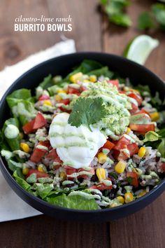 Super quick and easy cilantro-lime ranch burrito bowls!