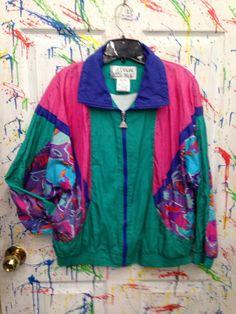 Vintage 80's windbreaker jogging swish zip up jacket for both men ...