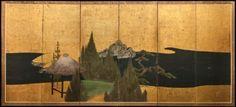Japanese Screen: Thatched Pavillion in Cedar Landscape