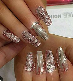 we love pink nail designs glitter rhinestones bling 30 nail art unghie, Glam Nails, Fancy Nails, Trendy Nails, Cute Nails, My Nails, Sparkly Nails, Pink Bling Nails, Vegas Nails, Bling Bling