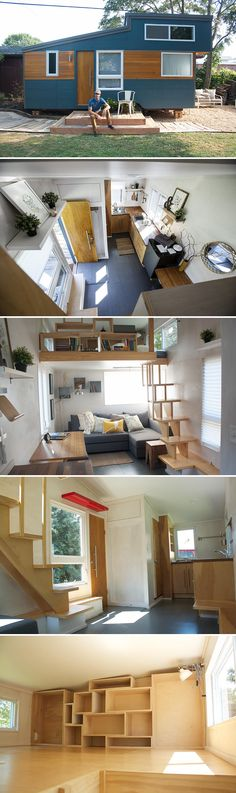 A 230 sq.ft. tiny house on wheels available for nightly rental in Lancaster County, PA through Airbnb. Includes a queen bed loft and queen sofa bed.