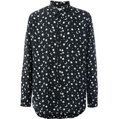 Saint Laurent signature Dylan collar shirt (1 830 BGN) ❤ liked on Polyvore featuring men's fashion, men's clothing, men's shirts, men's casual shirts, black, mens print shirts, mens long sleeve shirts, mens long sleeve collared shirts, mens long sleeve silk shirt and mens button front shirts