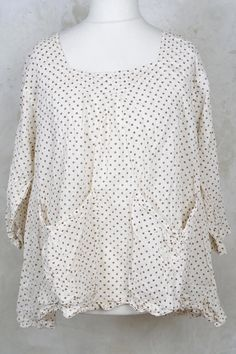 Noely Potters Smock With Square Neckline In Antique White-Magnolia Pearl