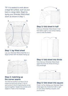 Cómo doblar una sábana ajustable, paso a paso. Gráfico