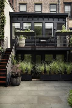 On the ground floor of a Brooklyn townhouse is a rental apartment. To provide privacy for both tenants and landlords, garden designer Lindsey Taylor created soft screening with lightweight fiberglass boxes planted with Miscanthus sinensis 'Morning Light'.