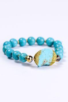 Turquoise Stretch Bracelet With Nugget - BRC1089TU