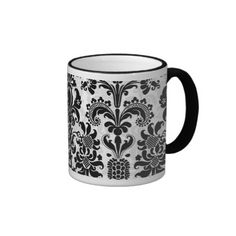 Black  White Floral Damasks Customized Mug