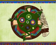 Native Amefican 3D Folk Art Frog Motif  by Renee Lozen, Palm Harbor #nativeamerican #native #tribal #fineart