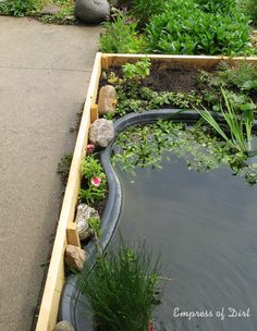 Empress of Dirt: How To Build A Pond In A Box. It doesn't even have to be put into the ground, you do it all above ground and fill in around it.