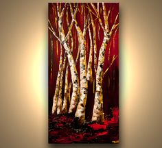"""Landscape Painting 48"""" x 24"""" ORIGINAL Abstract Birch Trees Painting Red Gold Modern Canvas Palette Knife Painting by Osnat"""