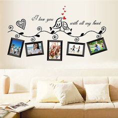 Birds Photo Frames English Letters Wall Decal PVC Home Sticker House Vinyl Paper Decoration WallPaper Living Room Bedroom Kitchen Art Picture DIY Murals