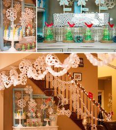 Winter Wonderland dessert table and hanging snowflakes