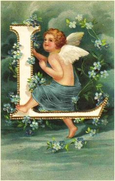 Victorian Angel Alphabet - Letter L Images Victoriennes, Angel Images, Vintage Cards, Vintage Postcards, Vintage Images, Alphabet Cards, Alphabet And Numbers, Vintage Illustration, Etiquette Vintage