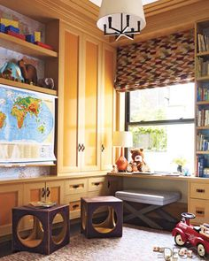 The cheery playroom of a Manhattan apartment by designer Steven Gambrel