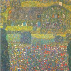 Reproduction de Klimt, Maison à Attersee. Tableau peint à la main dans nos ateliers. Peinture à l'huile sur toile.
