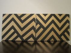 Black & Gold Chevron print canvas painting by aggenovese on Etsy, $50.00