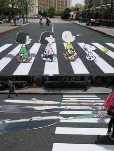 Creative illusion to slow down drivers