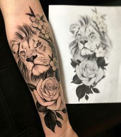 - Tattoos - Beautiful lion and rose tattoo 🌹 🦁 Tag someone who would love this 😍💉❤️. Leo Tattoos, Future Tattoos, Body Art Tattoos, Forearm Tattoos, Tribal Tattoos, Girl Tattoos, Sleeve Tattoos, Tattoos For Women, Tattos