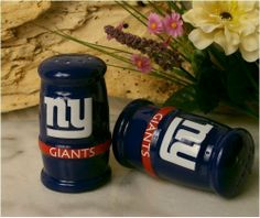 New York Giants BARREL SALT & PEPPER SHAKERS NFL Team Home Gifts & Decor . $18.00. Brand New, still in packaging porcelain Salt & Pepper Shakers. Show your team spirit at every meal with these heavy duty shakers! Image is raised, 3-D off of shaker!