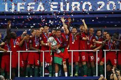 Portugal celebrates after beating France 1-0 in the Euro 2016 final on Sunday in…