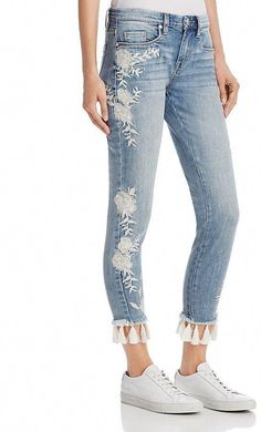 5be60381d385 Blank NYC BLANKNYC Embroidered Tassel-Hem Skinny  jeans in Blue - 100%  Exclusive