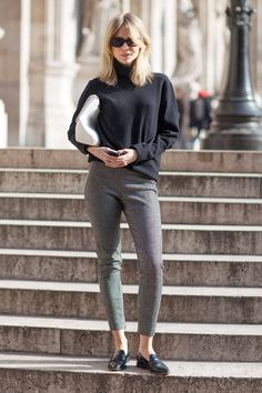 "The best way to look like you've got lean limbs? An oversized knit. Much like Swedish blogger Elin Kling, one editor's instant slimmer is ""a men's sweater and leggings."" The key being that a dude's pullover ""is usually longer and baggier than a women's oversized sweater,"" she says. Fashion science, people.   - ELLE.com"