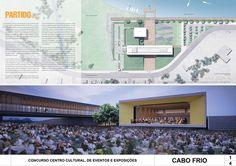 Resultados do Concurso Centro Cultural de Eventos e Exposições – Cabo Frio, Nova Fribugo e Paraty,ARQBR Arquitetura - Cabo Frio - Prancha 1/4. Image Courtesy of IAB