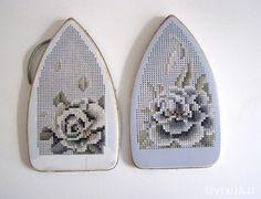 """Object for comparison"", 2009m., Iron details, cotton, 12x25x2 (2), Cross-stitch, drill"