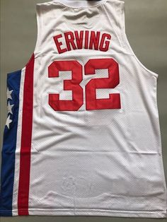 Men 32 Julius Erving Jersey White New York Nets Hardwood Classic Throwback 69cec1e0c