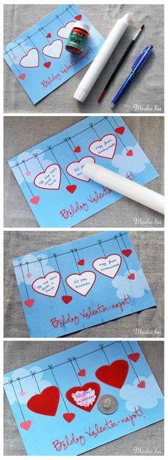 #DIY #Valentin-napi ajándék férfiaknak, kaparós sorsjegy, Meska #funny and #creative Valentin day #gift for #him