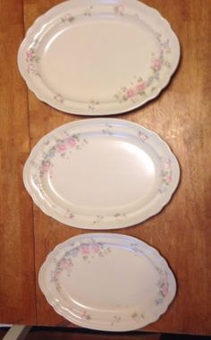 Pfaltzgraff-Tea-Rose-Serving-Platter-Plates-TRAYS-Set-of-3-OVAL