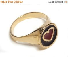 SALE 14K Gold Filled Heart Signet ring inlaid with colorful Enamel, 14K Gold plated Heart Signet ring, Pinkie Seal ring