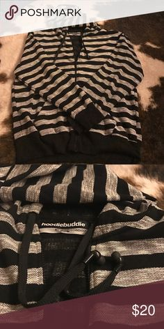 Zip-up hoodie with built in earbuds! 🔉🎶 Hoodiebuddie zip up hoodie with built in earbuds. Never worn! Black and white stripes. Jackets & Coats Lightweight & Shirt Jackets