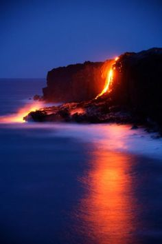 This beautiful photo shows a strong use of color. The background's deep blue against the glow of lava is striking. lava flowing into the ocean, Kilauea Volcano, Big Island, Hawaii, by Toshi Sasaki Oh The Places You'll Go, Places To Travel, Places To Visit, Mahalo Hawaii, Hawaii Usa, Hawaii Travel, Hawaii Fire, Beautiful World, Beautiful Places