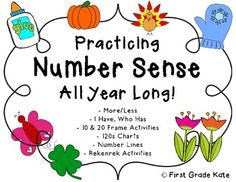 Great resource for building number sense!  Contains activities for 1 more/less, 10 more/less, I Have Who Has, 120 charts, number lines, and various ways to subitize numbers! $