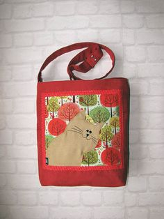 Cat Bag with Zipper Red Messenger Bag with Adjustable by ifONA