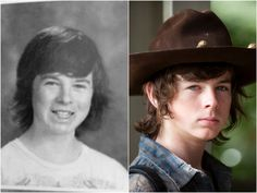 These high school yearbook superlatives for 'The Walking Dead' cast are perfect Carl The Walking Dead, The Walk Dead, Walking Dead Cast, Celebrities Then And Now, Cute Celebrities, Yearbook Superlatives, Sci Fi Horror Movies, Talking To The Dead, Carl Grimes