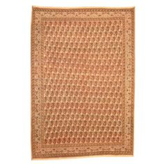 Antique 1950's Persian Refurbished Hand-knotted 9 x 13 Kashan Ivory and Light Brown Rug