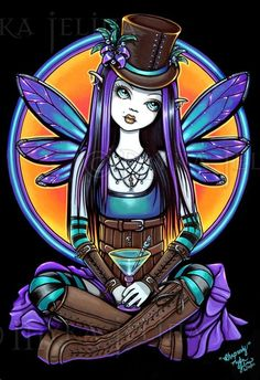 Gothic Fairy Steampunk Rhapsody Absinthe Limited Edition CANVAS Embellished 8x10 #PopArt