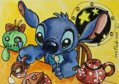 Stitch for Tea - 2015 Sue Flask ACEO ORIGINAL Gouache Pen Painting Miniature  #Miniature