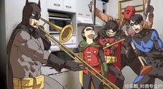 When Alfred isn't home - Batman, Damian, Tim Drake / Red Robin, Jason Todd / Red Hood, Dick Grayson / Nightwing Nightwing, Batgirl, Batwoman, Batman Y Superman, Batman Robin, Batman Art, Batman Arkham, Humor Batman, Funny Batman