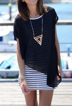 how to wear sheer shirts - layering shirt over dress - stripes - statement geometric necklace