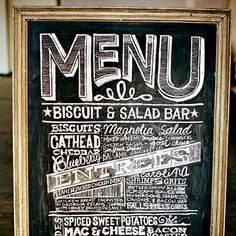 Playful Menu Graphics   This hand-lettered chalkboard menu plays with different typography styles.   SouthernLiving.com