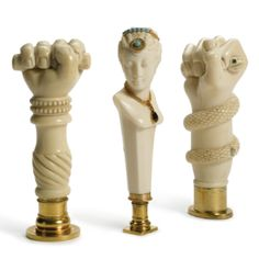Three Carved Ivory and Silver-gilt Desk Seals, 2nd half 19th century
