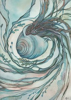 8,5 x 11 Drucken Letztes Jahr fand ich diese schöne Schale an den Ufern des eine entfernte Insel vor der Küste von Thailand. Ich habe es am Strand gemalt, und meiner eigenen skurrilen Flair von Life hinzugefügt. Das Original ist ein Aquarell gemalt in türkis blau grün Erdtönen