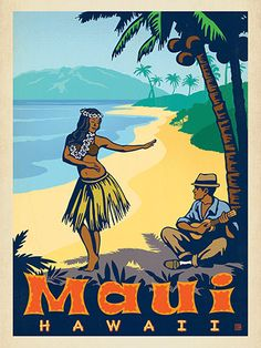 Maui, Hawaii - Anderson Design Group has created an award-winning series of classic travel posters that celebrates the history and charm of America's greatest cities and national parks. This print features a classic Hula dancer working her island charm. Printed on heavy gallery-grade matte finished paper, this print will look great on any home or office wall.
